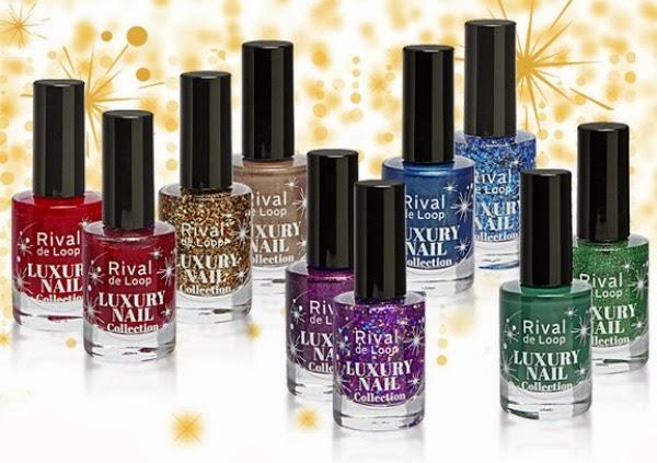 "Rival de Loop ""Luxury Nail Collection"" Nail Colour 01 Golden Glitter - 02 Golden Guerilla - 03 Glitter Lilac - 04 Plum Parade - 05 Red Glitter  06 Red Shade - 07 Blue Glitter - 08 Parisienne Blue - 09 Effect Green - 10 Greenwood"