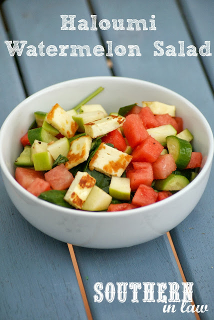 Summer Haloumi and Watermelon Salad Recipe - Apples, Cucumber, Baby Spinach, Healthy, Gluten Free, Low Fat