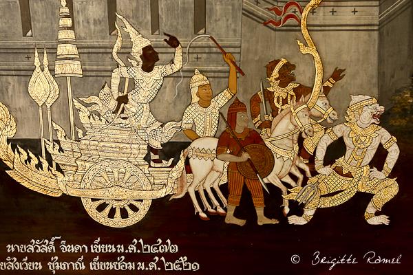 Bangkok,thailande, wat phra keo, les frises du ramakien