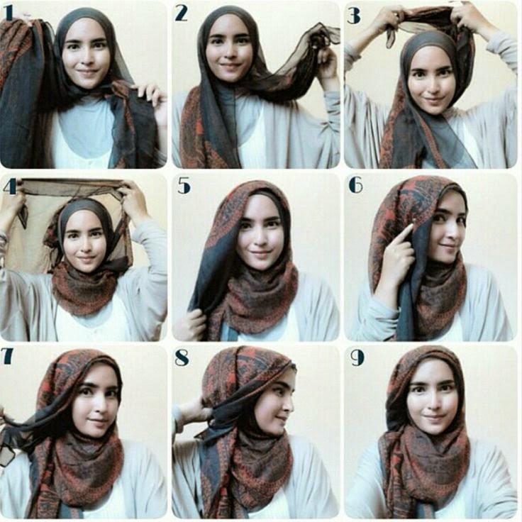 ... bergambar cara memakai jilbab modern kreasi berikut tutorial bergambar