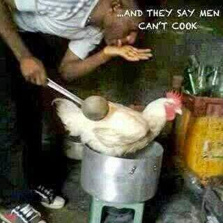 man cooking live chicken