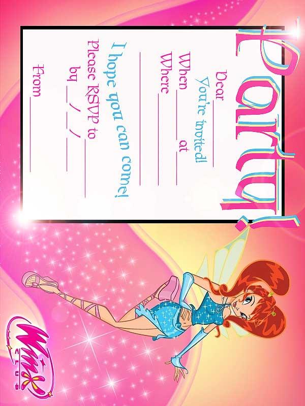FREE Winx Club Fairis Printable Party Invitation Best