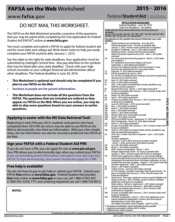 Printables Printable Fafsa Worksheet for high school counselors february 2015 f stands free answering difficult student questions about the fafsa