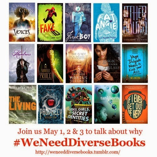 "Fifteen books' cover images arranged in a three-down and five-across grid with the caption, ""Join us May 1, 2 & 3 to talk about why #WeNeedDiverseBooks, http://weneeddiversebooks,tumblr.com"""