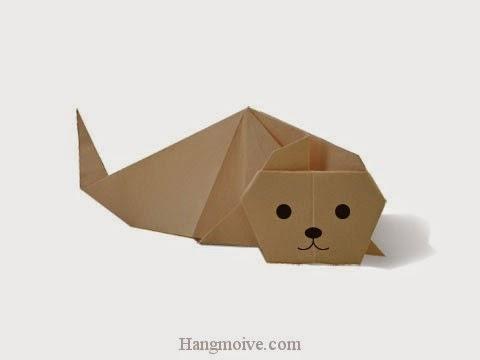 Cách gấp, xếp con hải cẩu 2 bằng giấy origami - Video hướng dẫn xếp hình sinh vật dưới nước - How to fold a Sea Dog