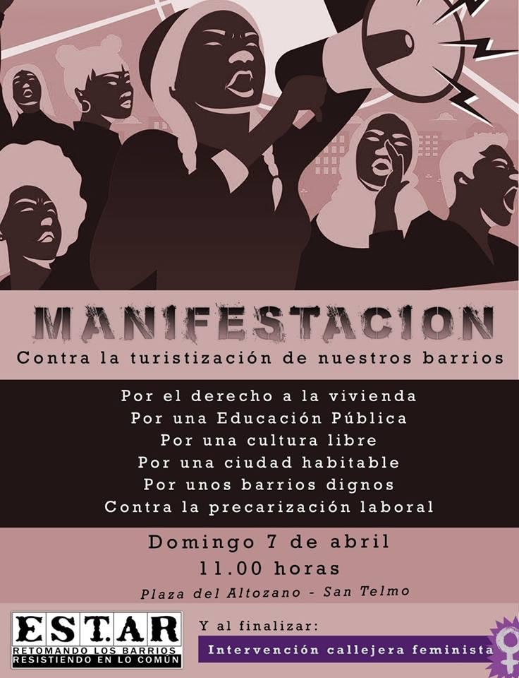 7 de Abril: MANIFESTACIÓN CONTRA LA TURISTIZACIÓN DE NUESTROS BARRIOS