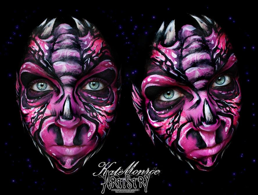 08-Dragon-Face-Kate-Monroe-Face-and-Body-Painting-on-Human-Canvases-www-designstack-co