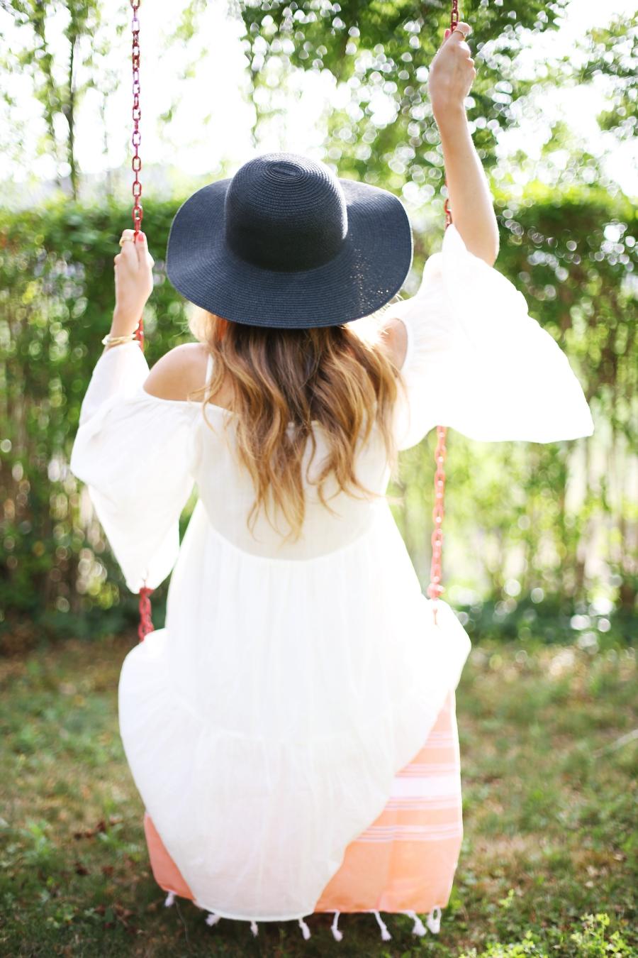 Fotos en columpio con vestido blanco