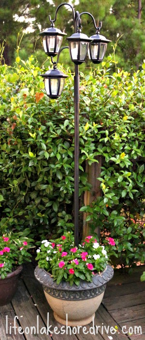 Diy solar lights lamp post life on lakeshore drive diy solar light lamp post with flower planter aloadofball Images