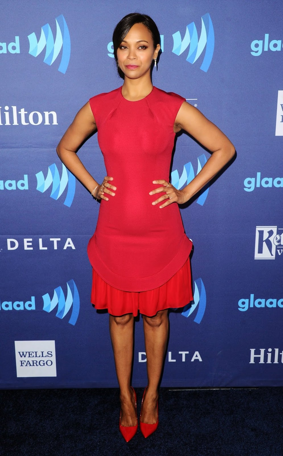 Zoe Saldana at the 2015 GLAAD Media Awards in Beverly Hills
