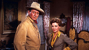 John Wayne y Angie Dickinson en Río Bravo