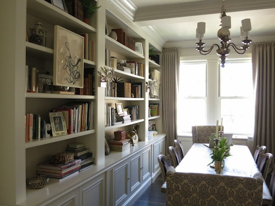 book cases in the dining room, book case styling ideas