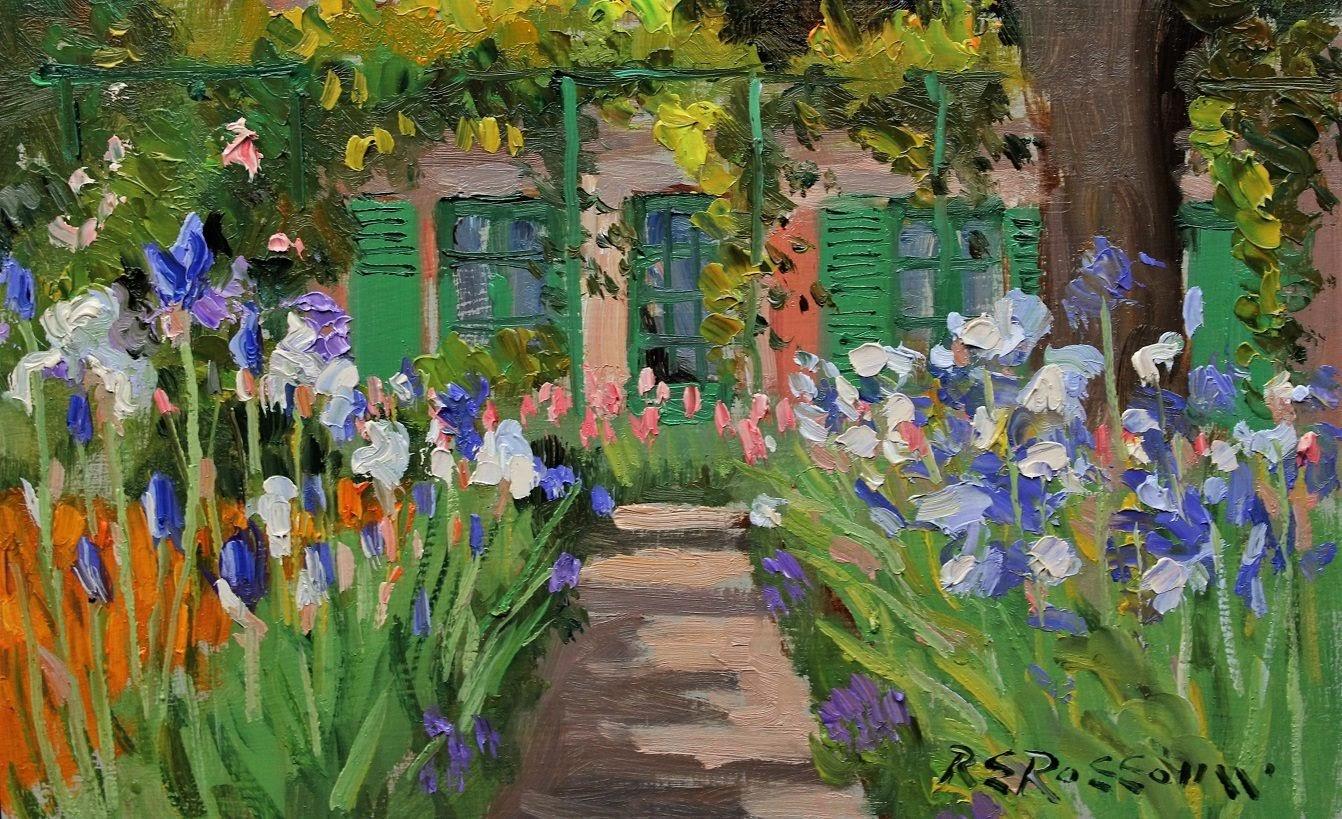 Roelof Rossouw Garden Path with Irises Giverny