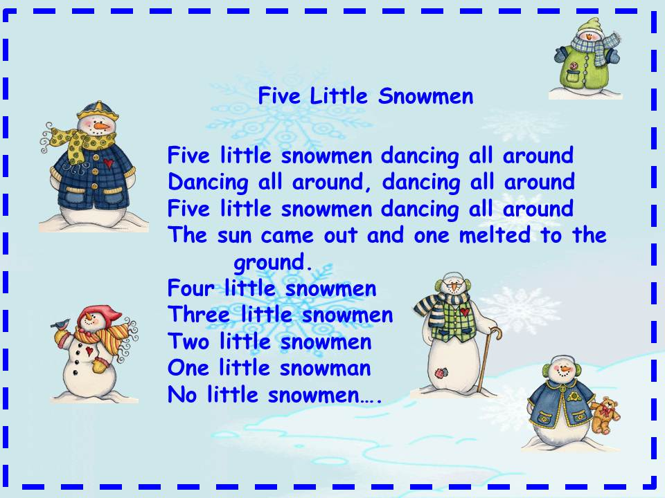 Five Little Snowman Poem | Search Results | Calendar 2015