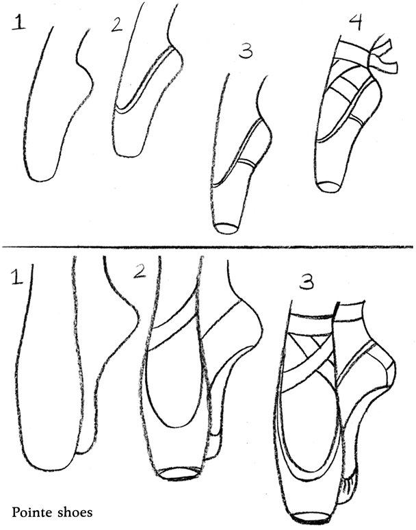 ballet shoes drawing easy -#main