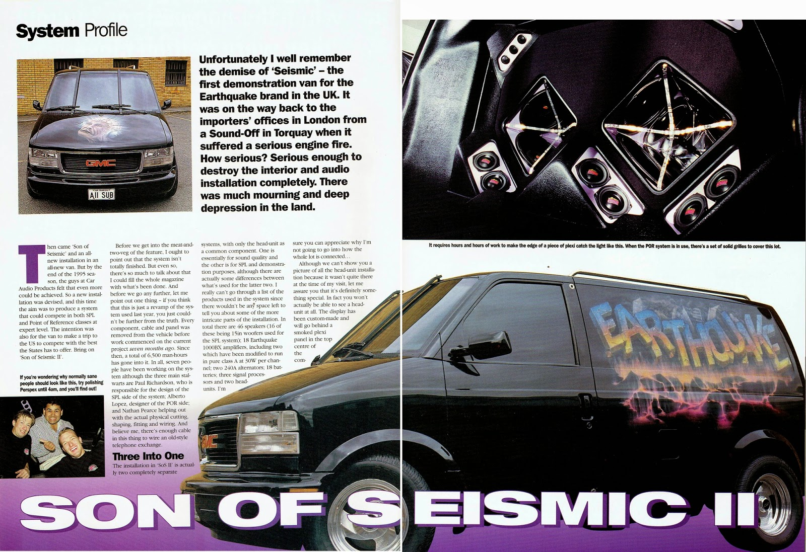 Image of British Car Stereo & Security magazine's Son of Seismic II article - first page