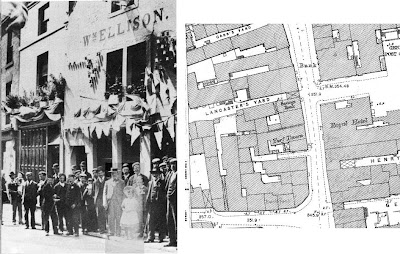 A grayscale picture of a crowd of people stood outside a decorated three story building with the name Wm Ellison written across it - lots of flat caps and one straw boater.  The map snip on the right shows how the pub goes a long way back from the street.