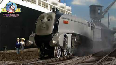 Thomas and friends Spencer the train is big and gleaming silver colored rail lines exceedingly fast