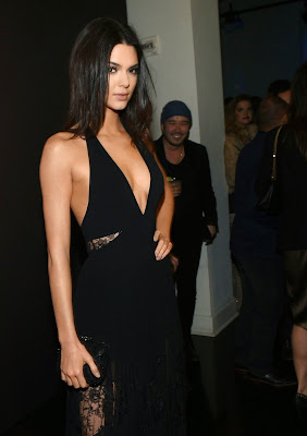 Kendall Jenner show slim body in a black halter gown at GQ and Giorgio Armani Grammy after party in Hollywood