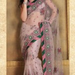 NET TRANSPARENT PINK WITH GREEN SAREE BLOUSE
