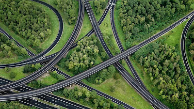 Aerial view of highway interchange, North Rhine-Westphalia, Germany (© Markus Hanke/Gallery Stock) 191