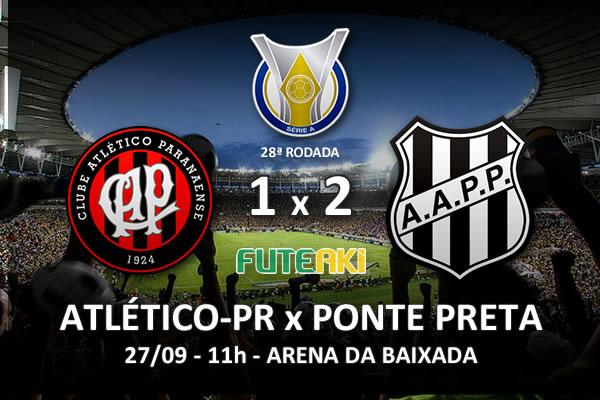 Veja o resumo da partida com os gols e os melhores momentos de Atlético-PR 1x2 Ponte Preta pela 28ª rodada do Brasileirão 2015.