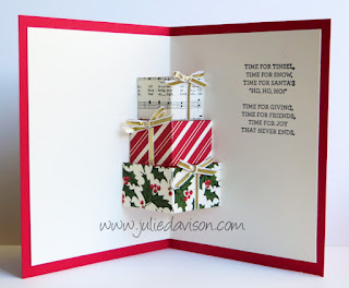 VIDEO Tutorial for Stampin' Up! Your Presents Season of Cheer Christmas Pop Up Presents Card #christmas #stampinup scs SplitcoastStampers www.juliedavison.com