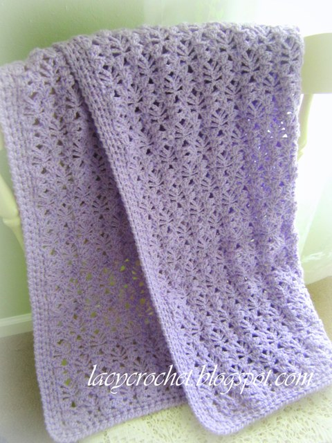 Free Crochet Pattern For Lacy Baby Blanket : Lacy Crochet Baby Blanket Pattern