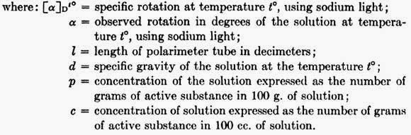 The optical activity of a solid is best determined in solution and expressed as specific rotation.