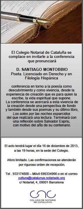 El poema es todo conferencia y lectura de poemas de santiago montobbio en el colegio de - Colegio de notarios de barcelona ...