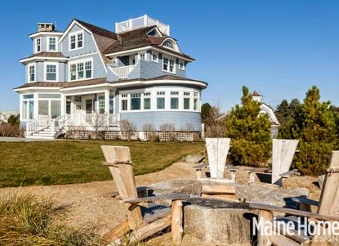 and a great place to sit outside is around the fire pit to sea more of this blue nautical decorated home head over to maine home design - Maine Home Design