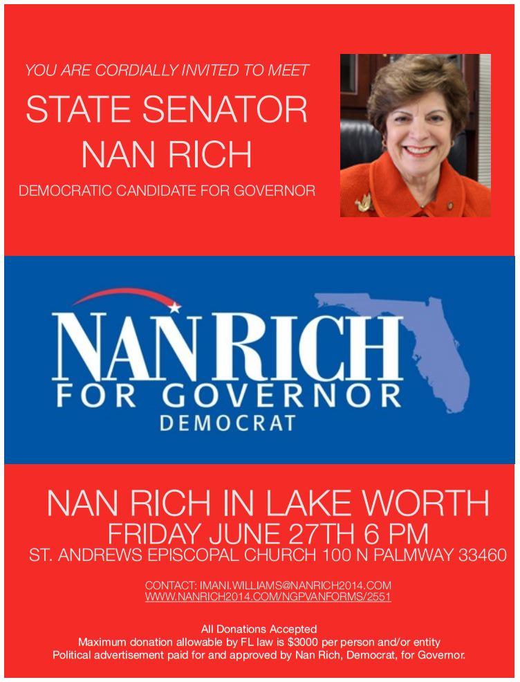 Remember Nan Rich? Democrat Party leaders chose Charlie Crist. . .