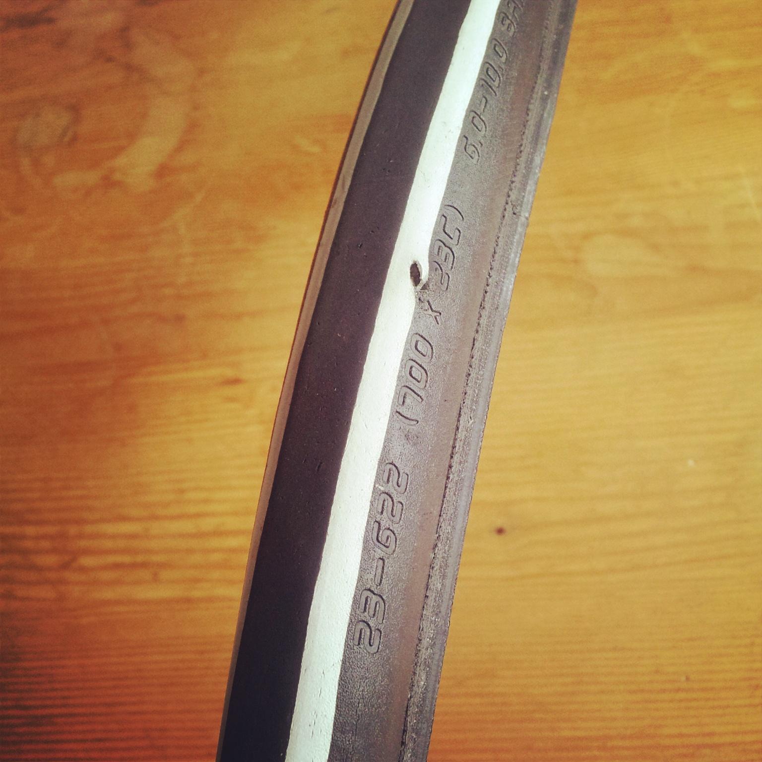 side wall tear in road bike tyre