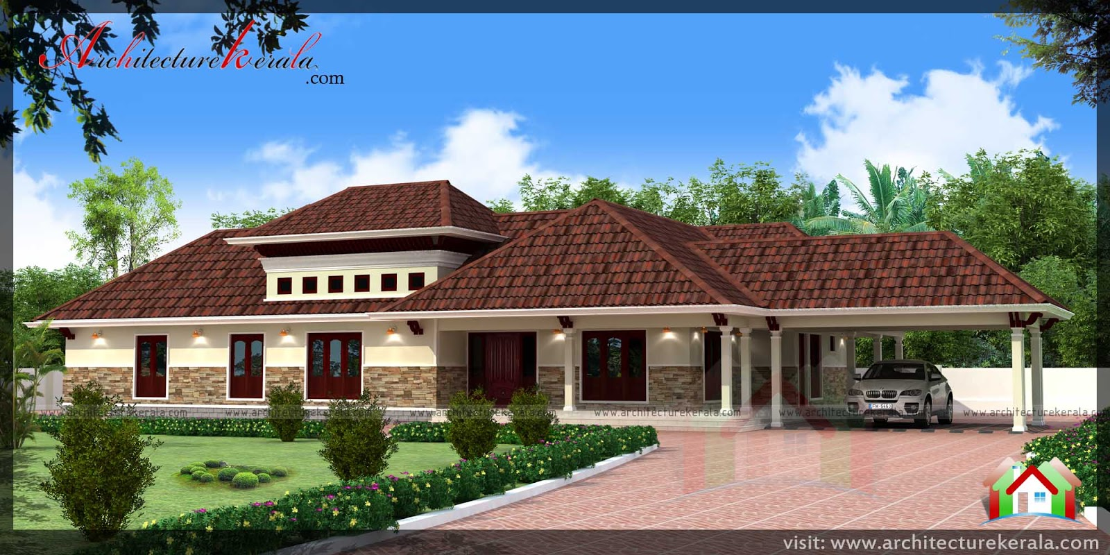 Single Storied Traditional Style House Plan And Elevation