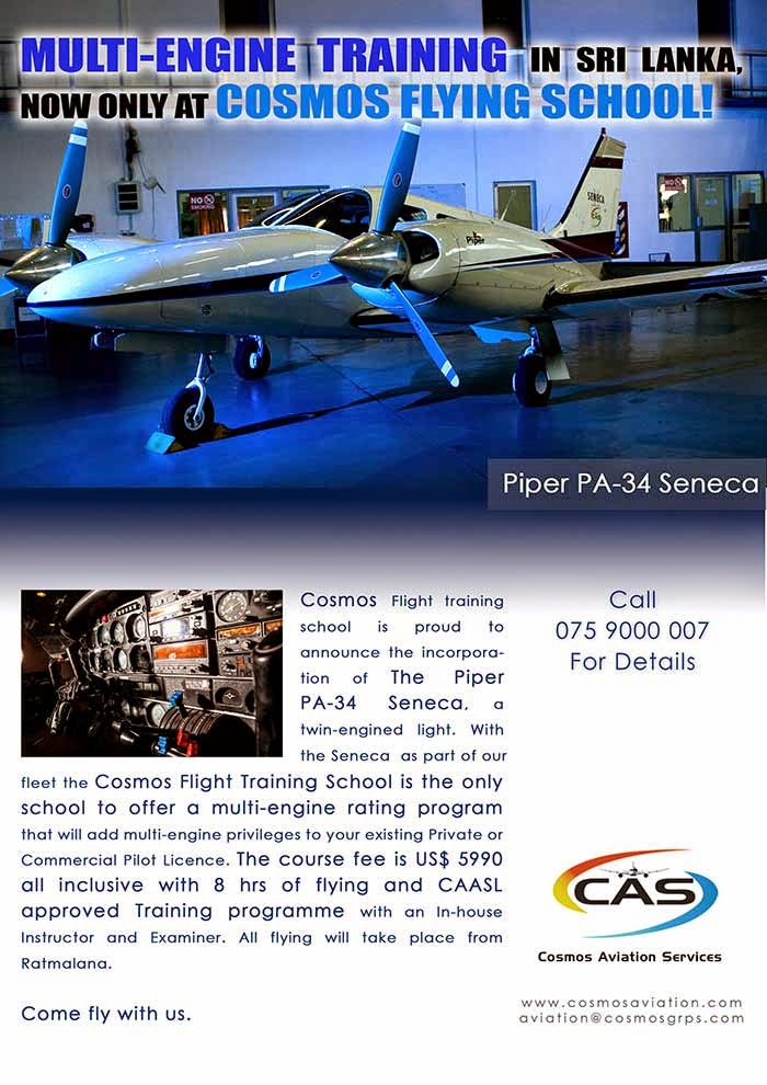 Flying School - While it's true that flying brings with it unrivaled excitement and adventure, piloting an aircraft remains a highly skilled and precise discipline. The Cosmos Aviation Flying school is a BOI approved, licensed flying school which has received certifications from Civil Aviation Authority Of Sri Lanka.