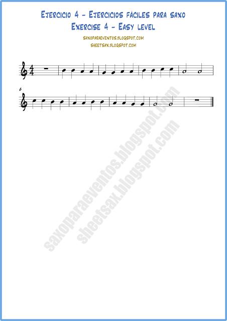 Ejercicio 4 partitura fácil para saxo