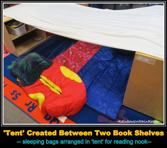 "photo of: Camping ""Tent"" Created at Preschool with sleeping bags for reading nook"