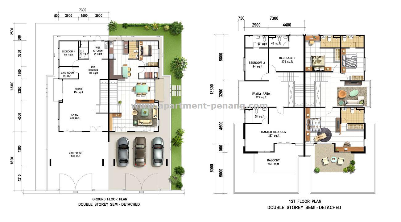 Pearl villas simpang ampat apartment for Double storey apartment plans