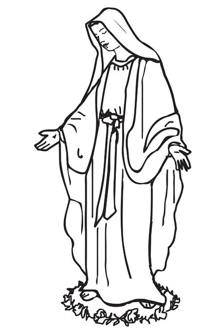 صورة العذراء مريم وهي تقف على دائرة من الزهور