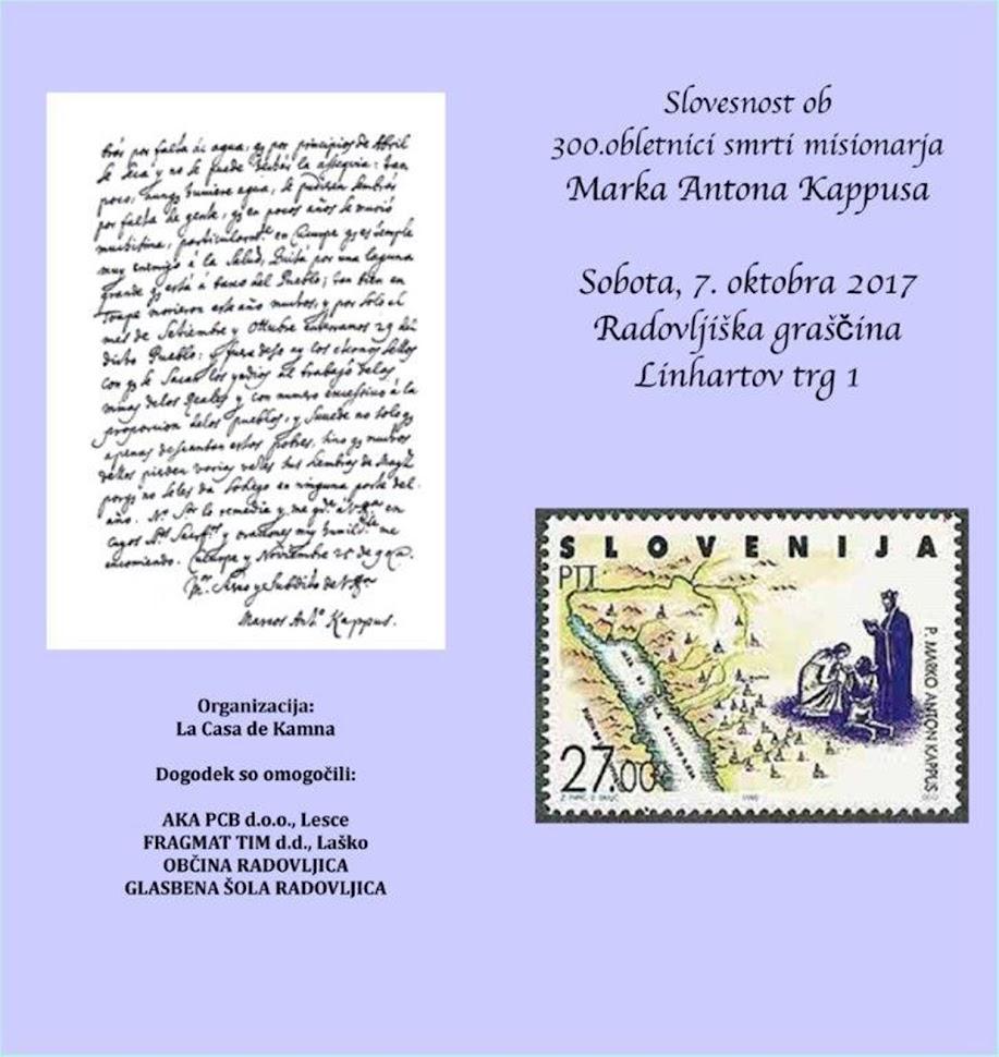 Slovesnost ob 300. obletnici smrti misionarja Marka Antona Kappusa