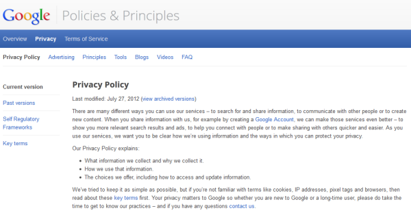 Dasar Privasi Google