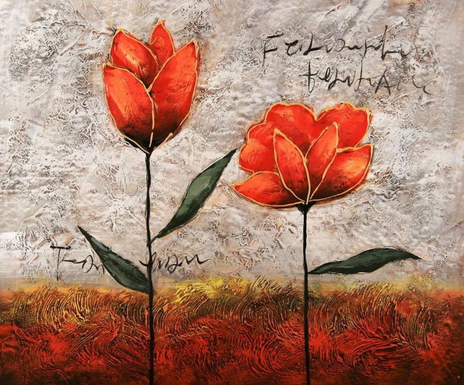Cuadros modernos pinturas y dibujos flores pinturas al - Fotos y cuadros ...