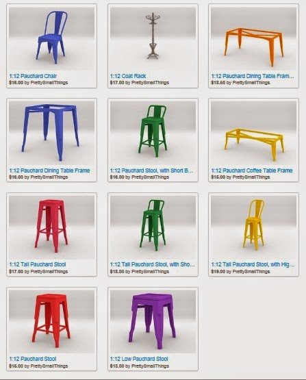 Selection of modern dolls house miniature Tolix stools, chairs and tables available from 3D printing on Shapeways.
