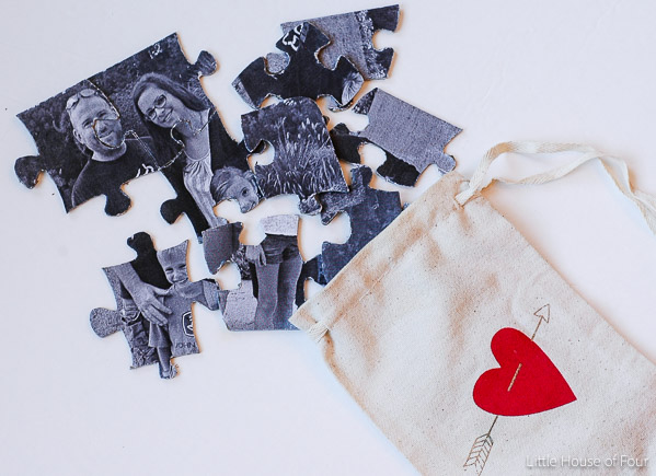 Create a thoughtful DIY puzzle that's not only inexpensive, but personal as well. -Littlehouseoffour.com