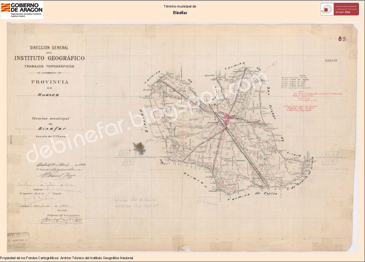 Mapa topográfico Binefar