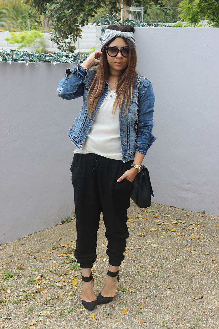 black joggers, denim jacket, lace blouse, zara black chain bag, prada cat eye sunglasses, ankle strap heels, CL turban, turban headband