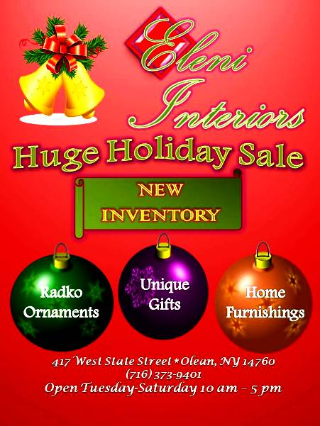 Huge Holiday Sale At Eleni Interiors In Olean