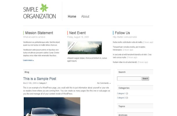 Free WordPress White Business Theme Template