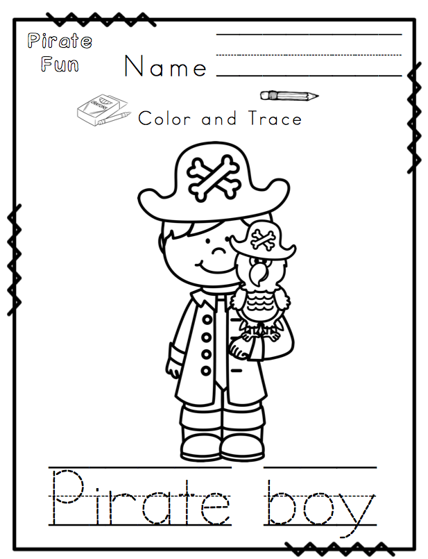 Pirate fun printable no prep preschool printables for Pirate coloring pages for preschool