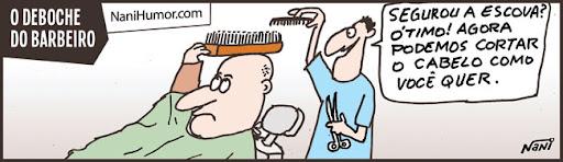 Tirinhas: Profissionais debochados. barbeiro